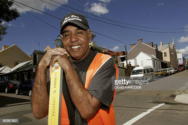 Aboriginal bricklayer Jack Dunn smiles after winning a 5 million Australian dollars contract with the RedfernWaterloo Development authority in...