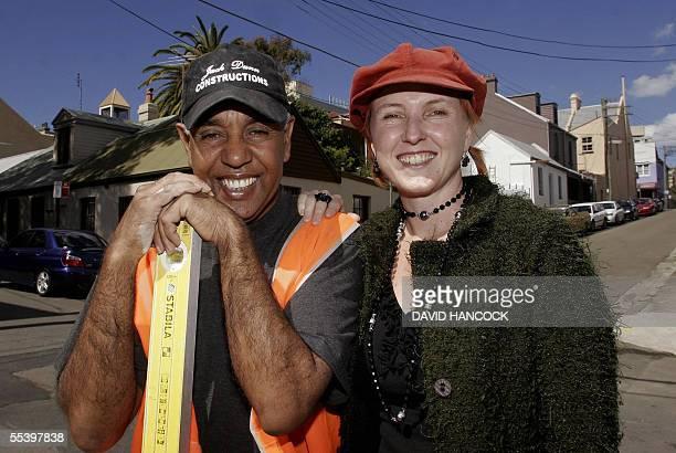 Aboriginal bricklayer Jack Dunn smiles along with his MicroEnterprise development officer Donna Redding after winning a 5 million Australian dollars...