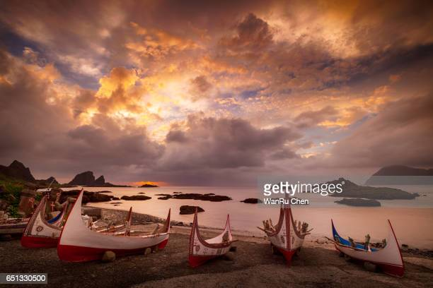 Aboriginal Canoe on the Beach of Lanyu During Flying Fish Festival at sunrise