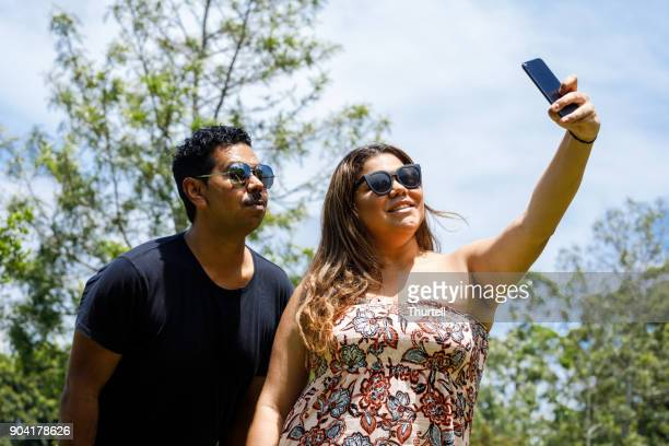Aboriginal Couple Taking Selfie