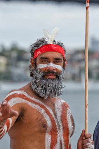 Aboriginal dancer at Homeground indigenous Festival in Sydney 499181644