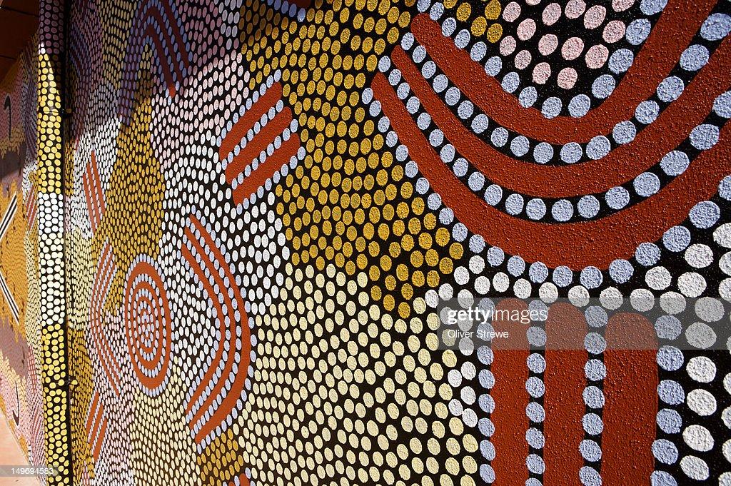 Aboriginal Dot Painting Mural Araluen Arts Centre Stock Photo