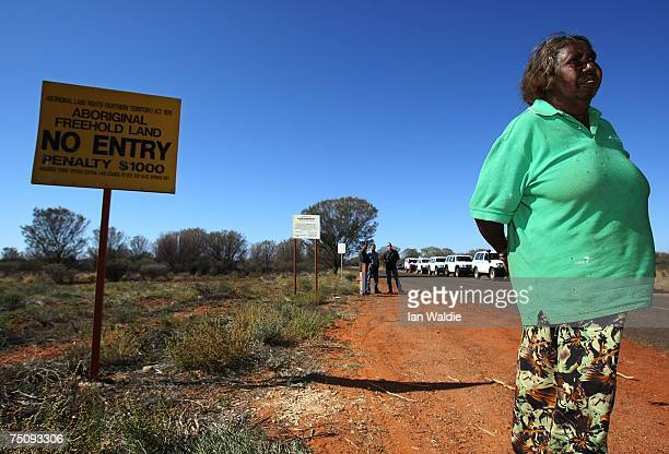 Aboriginal elder from the Mutitjulu community Judy Trigger stands at the entrance of the community after a meeting with Indigenous Affairs Minister...