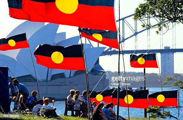 Aboriginal flags and Sydney Opera House from Lady Macquaries Chair.
