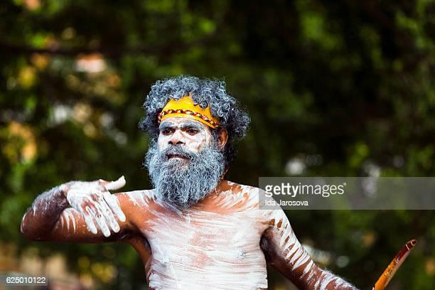 Aboriginal male dancing, street performer, Sydney Australia