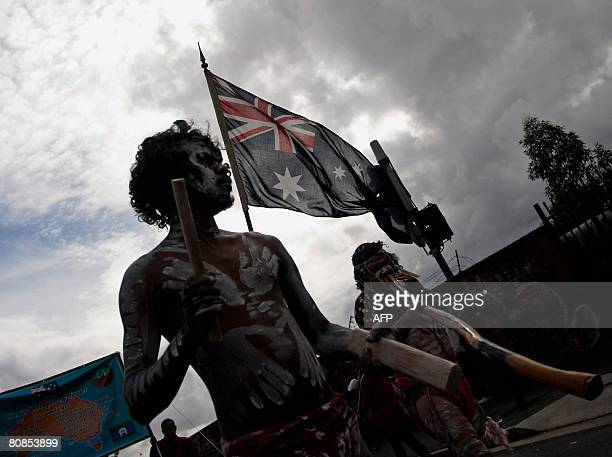 Aboriginal performers walk in 'Coloured Digger' march on ANZAC Day in Sydney's Redfern on April 25 2008 The coloured servicemen and woman who have...