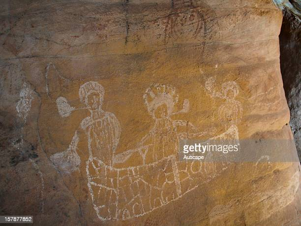 Aboriginal rock art depicting Dutch sailors smoking pipes in rowboat It's possible that this art shows Abel Tasman coming ashore in 1644 Bigge Island...