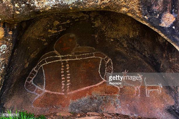 Aboriginal rock painting at Bunjil Shelter depicting Bunjil a creation being who features in the Dreaming of Aboriginal people across southeastern...