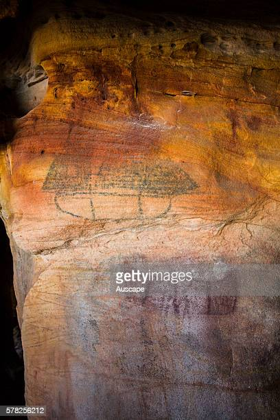 Aboriginal rock painting of a European sailing vessel on Bigge Island about 20 km from the mainland at Cape Pond Bonaparte Archipelago Kimberley...