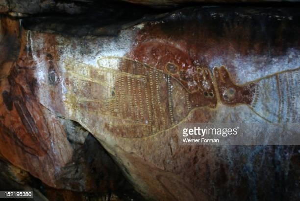 Aboriginal rock painting of human animal spirits from the Kimberley region Australia Aboriginal King Edward River