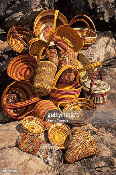Aboriginal traditional pandanus baskets and dilly bags made by women from Injalak art centre western Arnhem Land