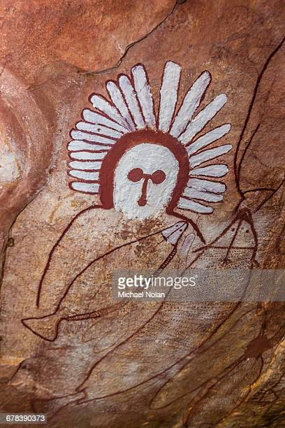Aboriginal Wandjina cave artwork in sandstone caves at Raft Point, Kimberley, Western Australia, Australia, Pacific