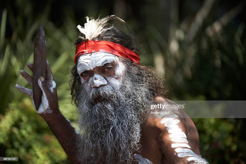 Aborigine man with traditional dress. : Stock Photo