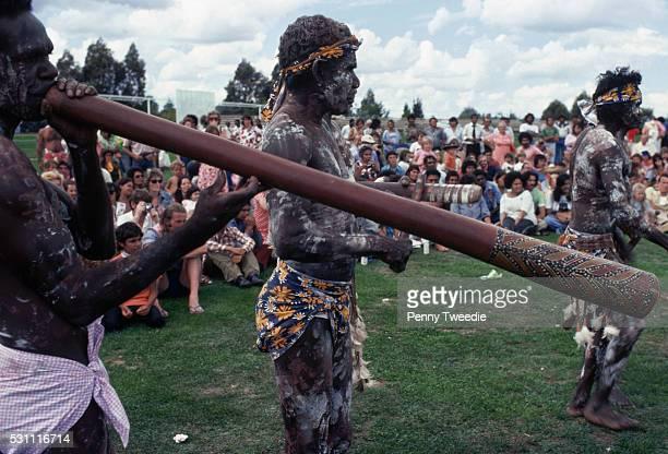 Aborigine Plays The Didgeridoo
