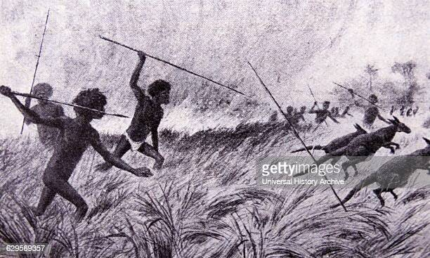 Aborigines hunting Wallabies in Queensland Australia Dated 1850