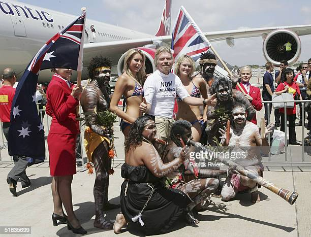 Aborigines welcome Businessman Richard Branson on his arrival to launch his new Virgin Atlantic airline venture between London and Sydney at Sydney...