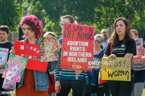 Abortion in Northern Ireland Protesters Prochoice groups and supporters protested in London UK on 5 June 2018 to regulate abortion in Northern Ireland