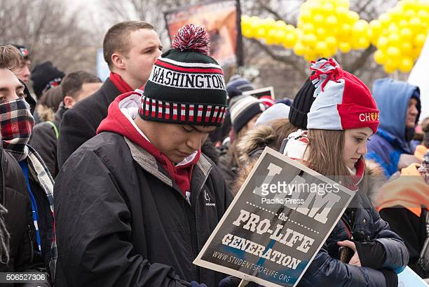 Abortion opponents participate in a rally preceding the 'March for Life' Tens of thousands of ProLife supporters rallied in Washington DC on the...
