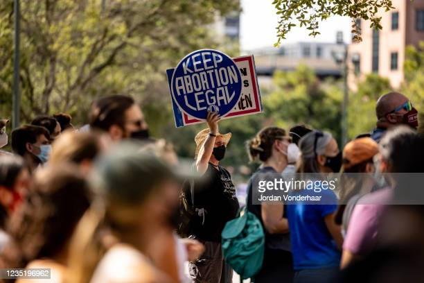 Abortion rights activists rally at the Texas State Capitol on September 11, 2021 in Austin, Texas. Texas Lawmakers recently passed several pieces of...