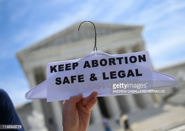 Abortion rights activists rally in front of the US Supreme Court in Washington, DC, on May 21, 2019. - Demonstrations were planned across the US on...