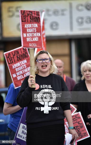 Abortion rights campaign group ROSA Reproductive Rights Against Oppression Sexism and Austerity hold a rally at Guildhall square on May 31 2018 in...