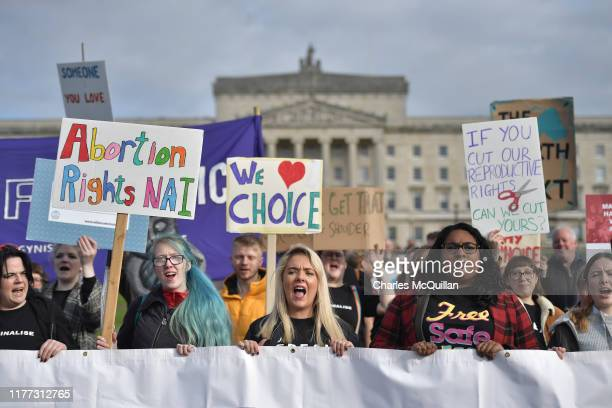 Abortionrights demonstrators march through the streets of Belfast ahead of a meeting of the Stormont Assembly on abortion rights and gay marriage on...