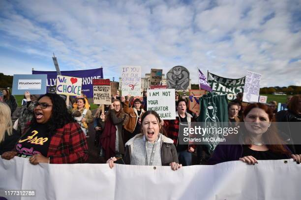 Abortion-rights demonstrators march through the streets of Belfast ahead of a meeting of the Stormont Assembly on abortion rights and gay marriage on...