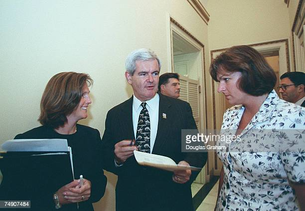 Speaker of the House Newt GingrichRGa talks with Lisa Nelsondirector of Public Affiars and Christina MartinPress Secretary before his speech at the...