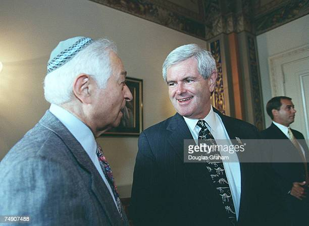 Speaker of the House Newt GingrichRGa talks with Rabbi Ehrenkranz in a waiting room before the start of the press conference on the partial birth...