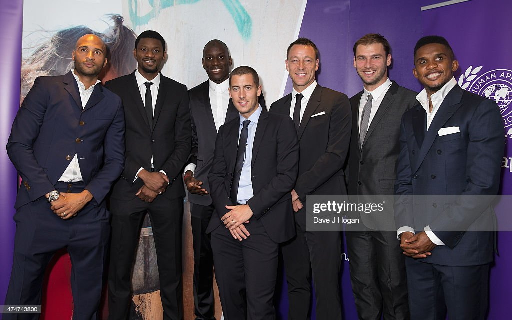 Abou Diabg, Diomansy Kamara,Demba Ba, Eden Hazard, John Terry, Samuel Eto'o and Branoslav Ivanovich attending The Human Appeal Celebrity Football Gala DinnerLondon Marriott Hotel on May 25, 2015 in London, England.