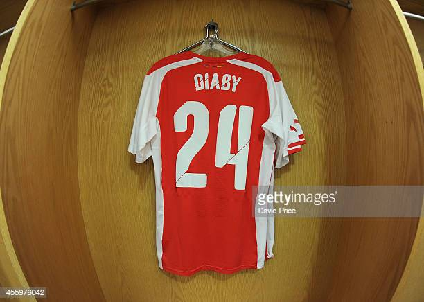 Abou Diaby kit is seen in the changing room before the Capital One Cup 3rd match between Arsenal and Southampton at Emirates Stadium on September 23...