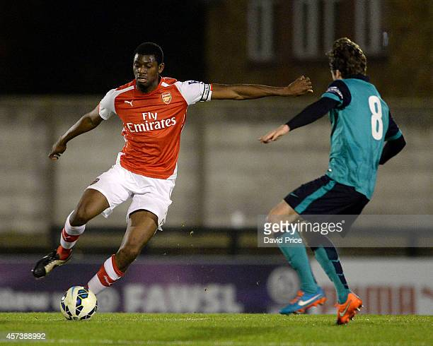 Abou Diaby of Arsenal cuts inside Hyuga Tanner of Blackburn during the match between Arsenal U21 and Blackburn U21 in the Barclays Premier U21 League...