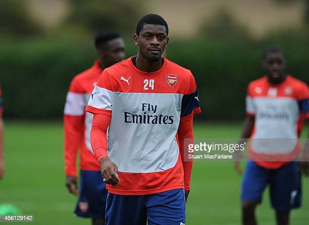 Abou Diaby of Arsenal during a training session at London Colney on September 26 2014 in St Albans England