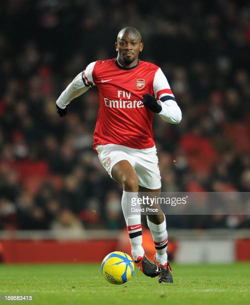 Abou Diaby of Arsenal during the FA Cup Third Round Replay match between Arsenal and Swansea City at the Emirates Stadium on January 16 2013 in...