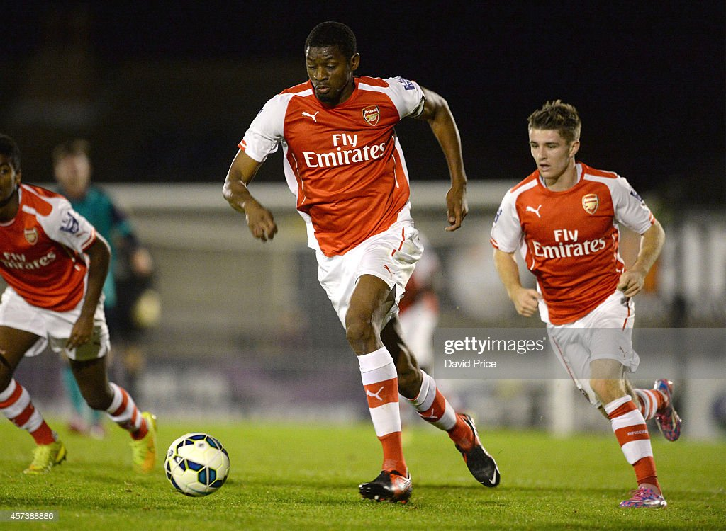 Abou Diaby of Arsenal during the match between Arsenal U21 and Blackburn U21 in the Barclays Premier U21 League at Meadow Park on October 17, 2014 in Borehamwood, England.