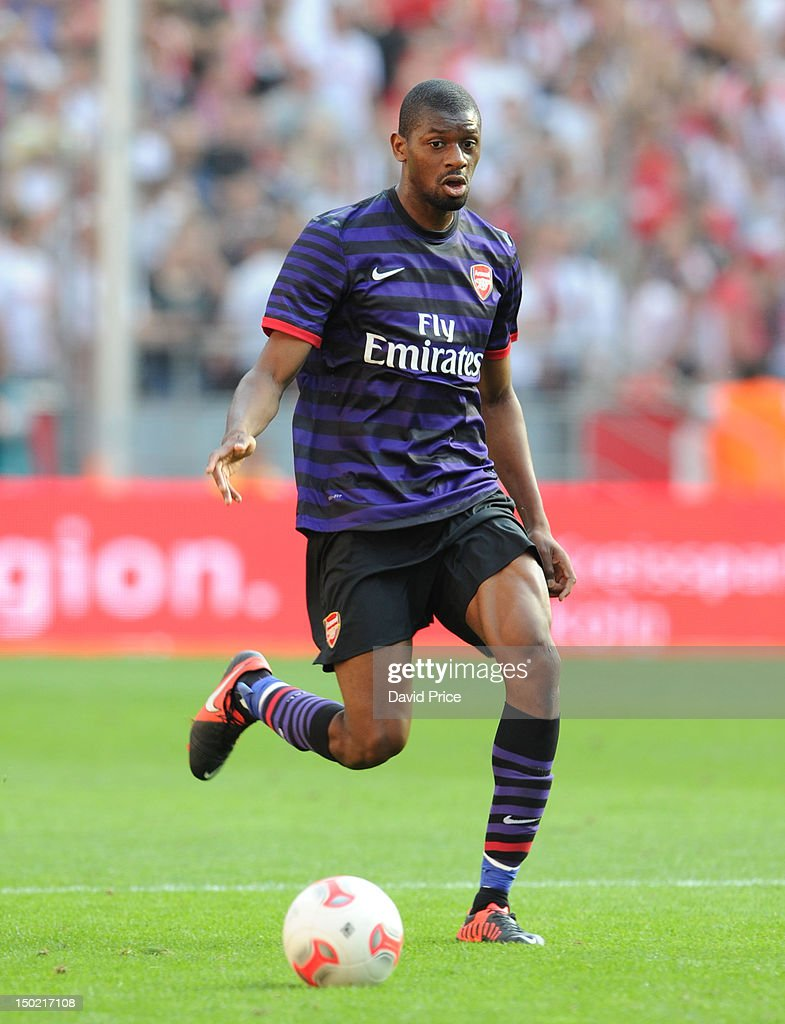 Abou Diaby of Arsenal in action against FC Cologne during Pre-Season Friendly game at Rhein Energie Stadium on August 12, 2012 in Cologne, Germany.