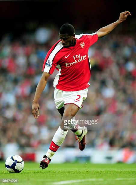 Abou Diaby of Arsenal passes the ball during the Barclays Premier League match between Arsenal and Manchester City at the Emirates Stadium on April...
