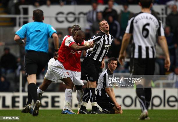 Abou Diaby of Arsenal pushes Kevin Nolan of Newcastle and gets sent off during the Barclays Premier League match between Newcastle United and Arsenal...