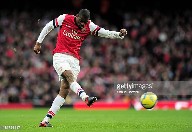 Abou Diaby of Arsenal takes a shot on goal during the FA Cup with Budweiser fifth round match between Arsenal and Blackburn Rovers at Emirates...