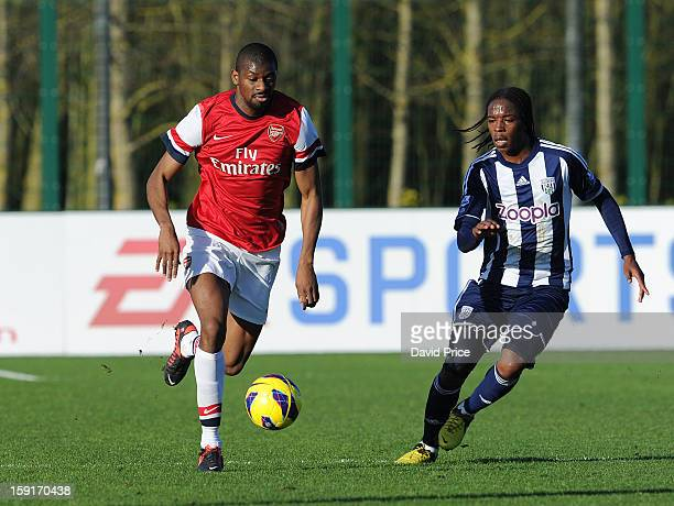 Abou Diaby of Arsenal takes on Romaine Sawyers of WBA during the Barclays Premier U21 match between Arsenal U21 and West Bromwich Albion U21 at...