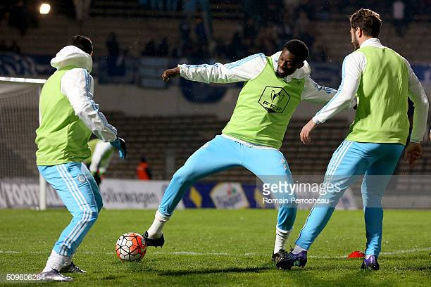 Abou Diaby of Olympique de Marseille in action during the warm up before French Cup match between Trelissac FC and Olympique de Marseille at Stade...