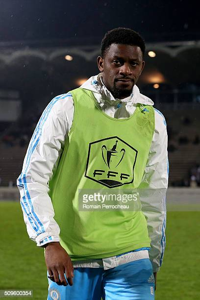 Abou Diaby of Olympique de Marseille looks on before the French Cup match between Trelissac FC and Olympique de Marseille at Stade ChabanDelmas on...