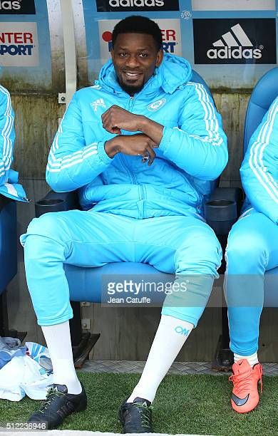 Abou Diaby of OM seats on the bench during the French Ligue 1 match between Olympique de Marseille and AS SaintEtienne at New Stade Velodrome on...
