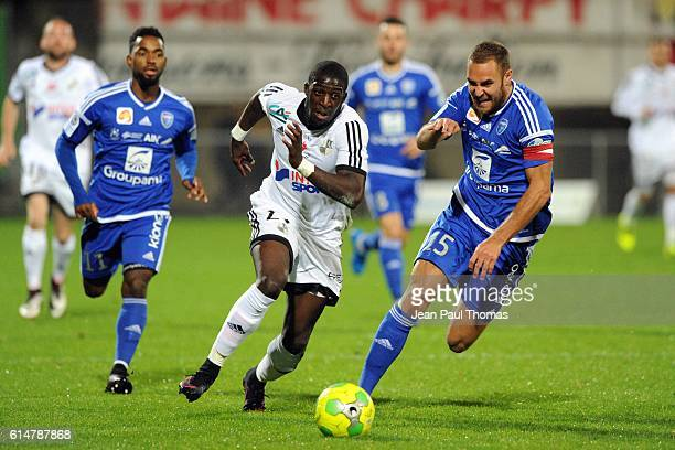 Aboubakar KAMARA of Amiens and Jimmy NIRLO of Bourg en Bresse during the Ligue 2 match between Bourg en Bresse and Amiens SC at Stade MarcelVerchere...