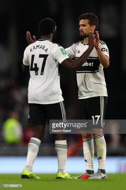 Aboubakar Kamara of Fulham and Rui Fonte of Fulham celebrate following their sides victory in the Carabao Cup Second Round match between Fulham and...