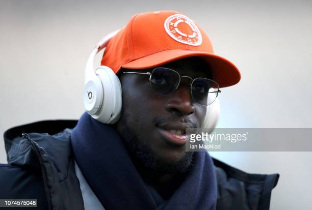 Aboubakar Kamara of Fulham arrives at the stadium prior to the Premier League match between Newcastle United and Fulham FC at St James Park on...