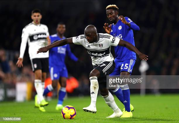 Aboubakar Kamara of Fulham battles for possession with Onyinye Wilfred Ndidi of Leicester City during the Premier League match between Fulham FC and...