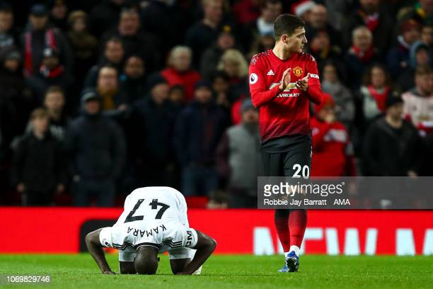 Aboubakar Kamara of Fulham celebrates after scoring a goal to make it 31 during the Premier League match between Manchester United and Fulham FC at...