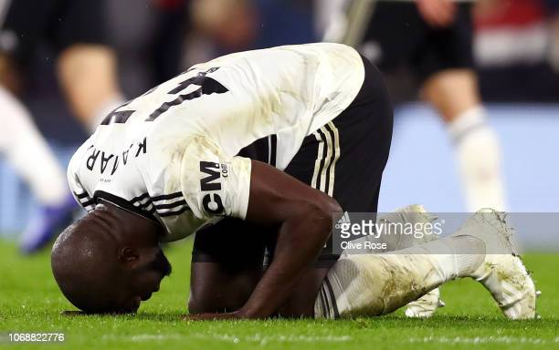 Aboubakar Kamara of Fulham celebrates after scoring his team's first goal during the Premier League match between Fulham FC and Leicester City at...