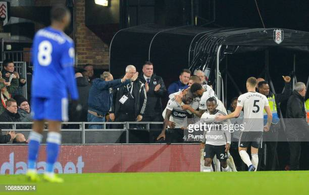 Aboubakar Kamara of Fulham celebrates with his team mates after scoring to make it 10 during the Premier League match between Fulham FC and Leicester...